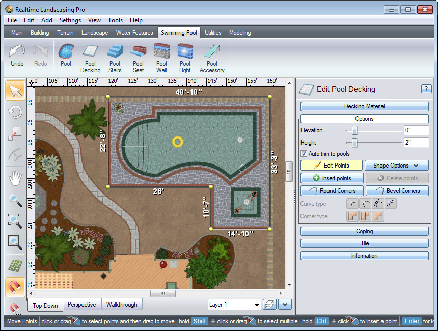 Place points to create the outline of your pool decking
