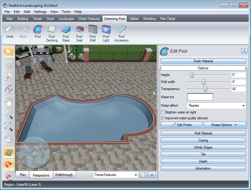 Edit, scale, and rotate your pool as desired