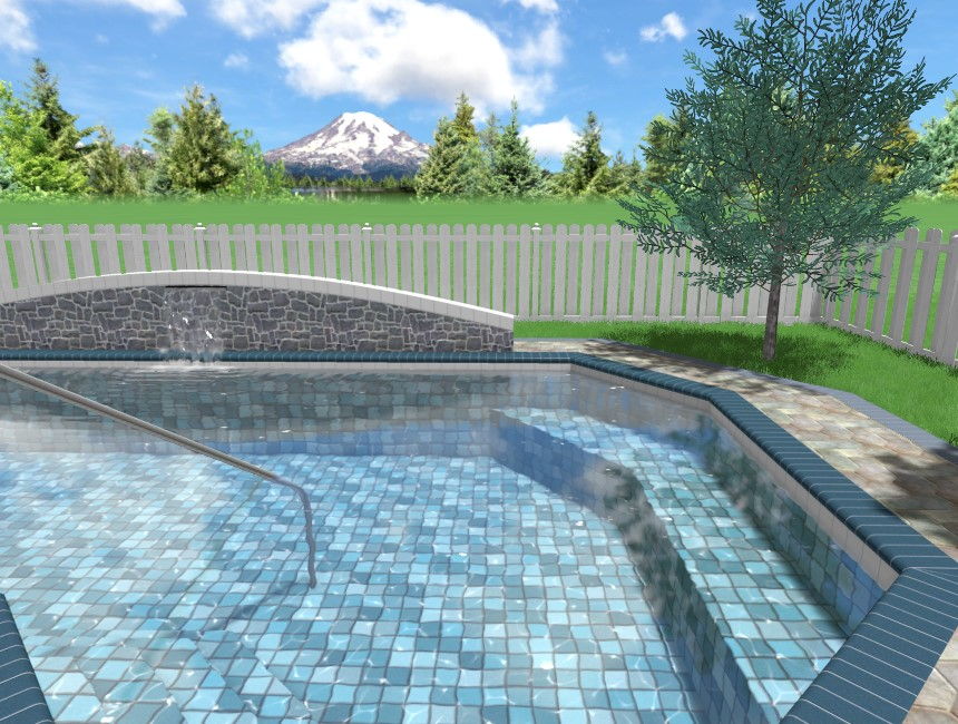 You have completed adding a pool seat to your 3D landscape design