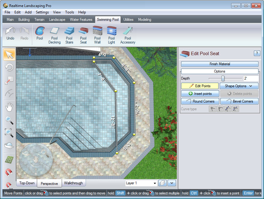 Place points to create the outline of your pool seat