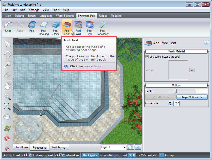 Click the buttom to add a pool seat to your landscape design