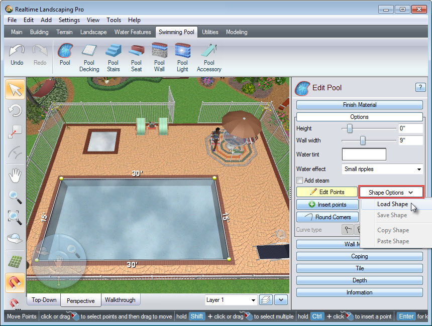 Choose from a selection of pre-made pool shapes
