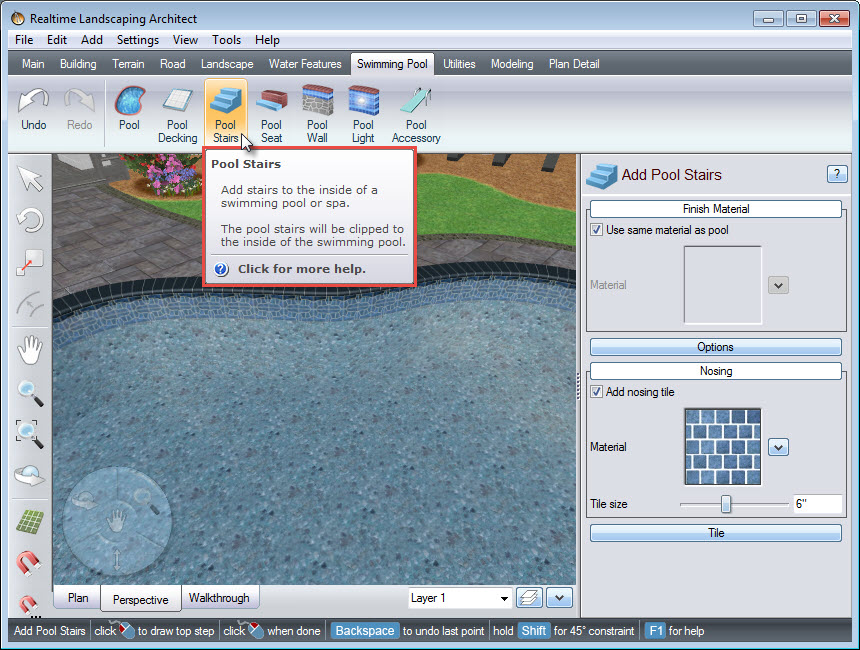 Click this button to add pool stairs to your landscape design