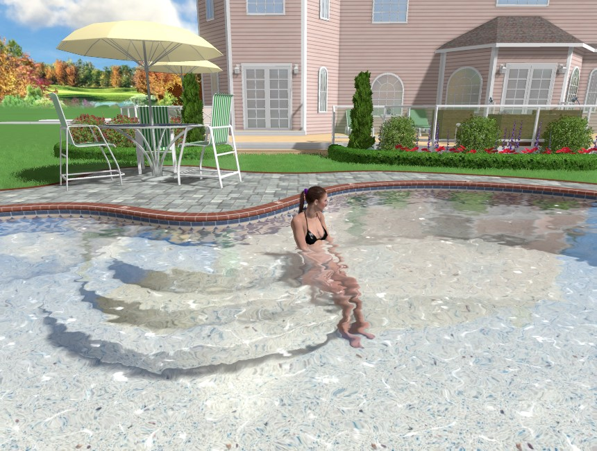 You have completed adding pool stairs using Realtime Landscaping Pro