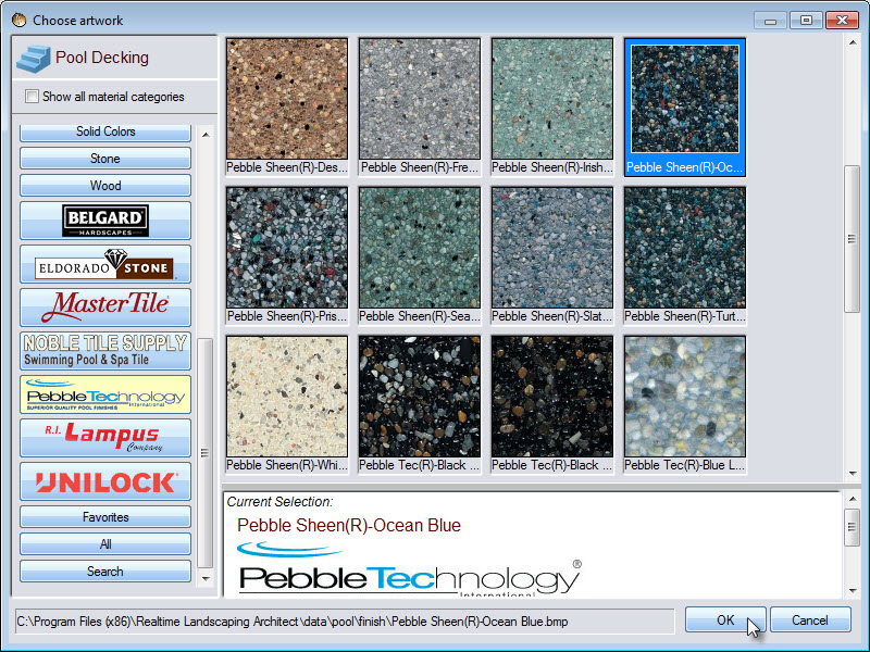 Choose from a selection of pool material including some from Pebble Technology
