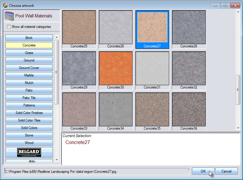 Select from a variety of wall materials including some from Unilock, Belgard, Eldorado stone, and more