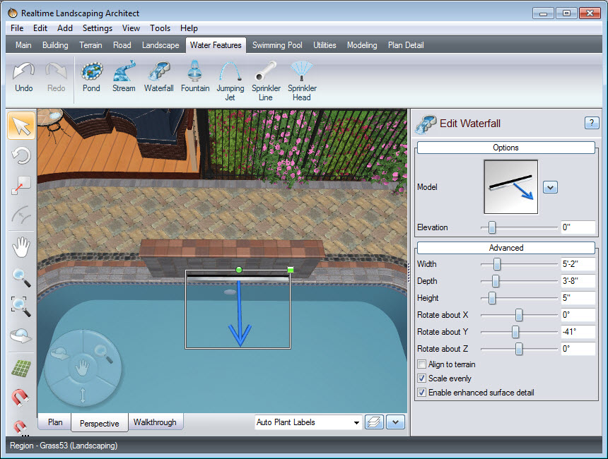 Rotate and scale your spillway as desired