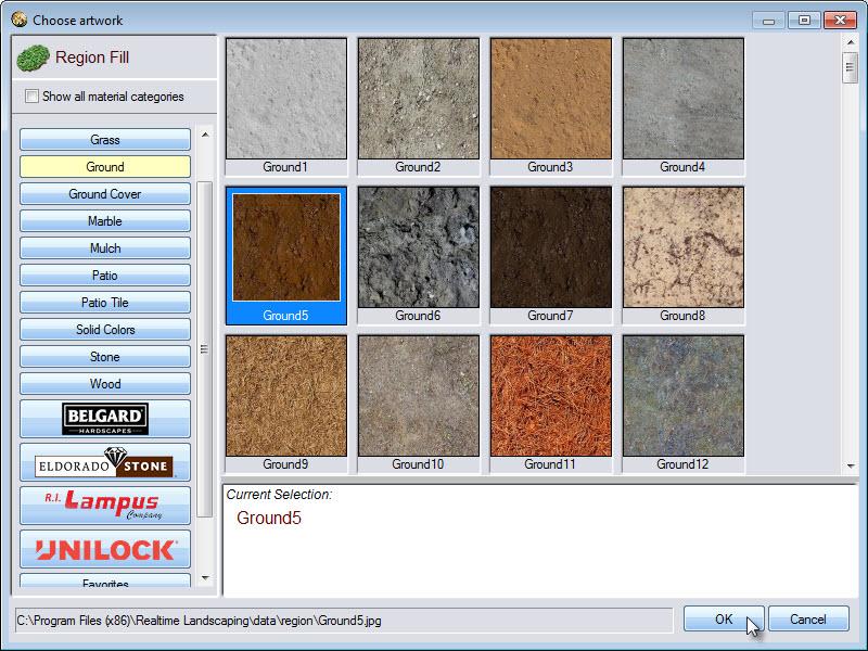 Select region material