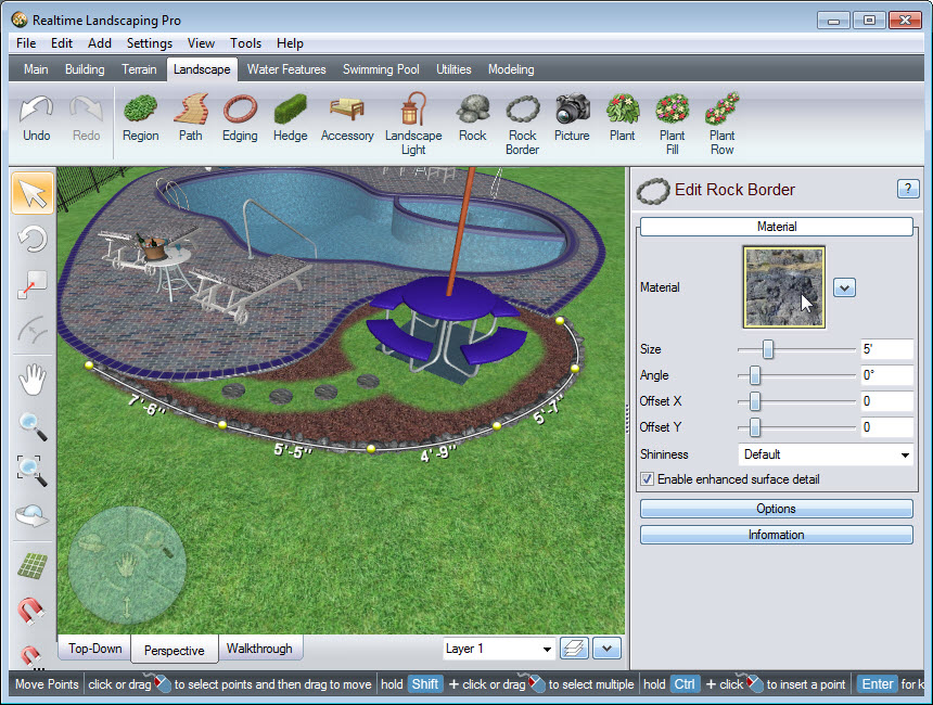 Place points to create the outline of your rock border