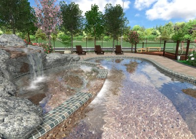 Rocky Pool and Spa - 3D View
