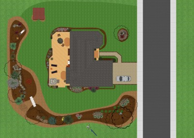 House and Deck Design in Top-Down View