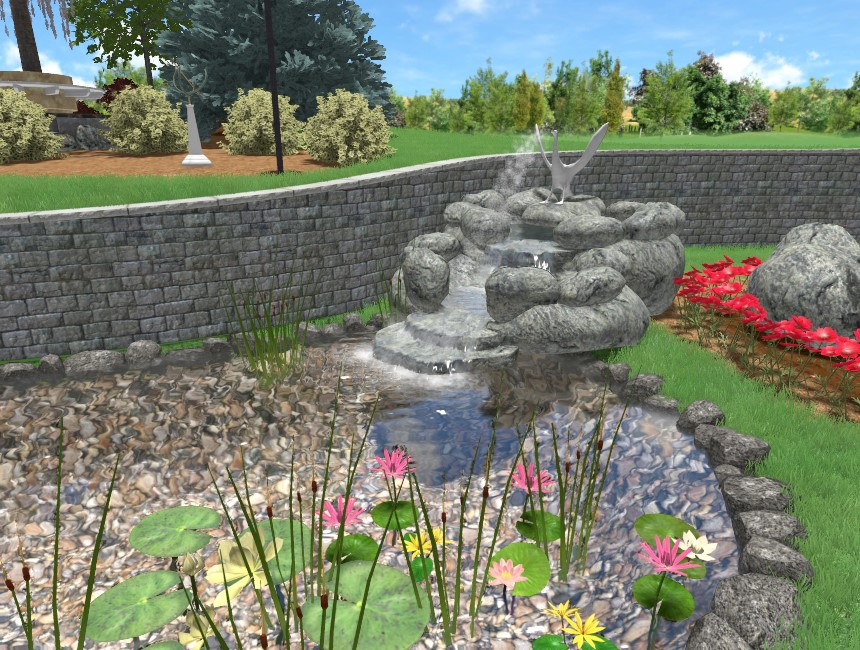 You have completed this tutorial and added a 3D waterfall to your landscape design