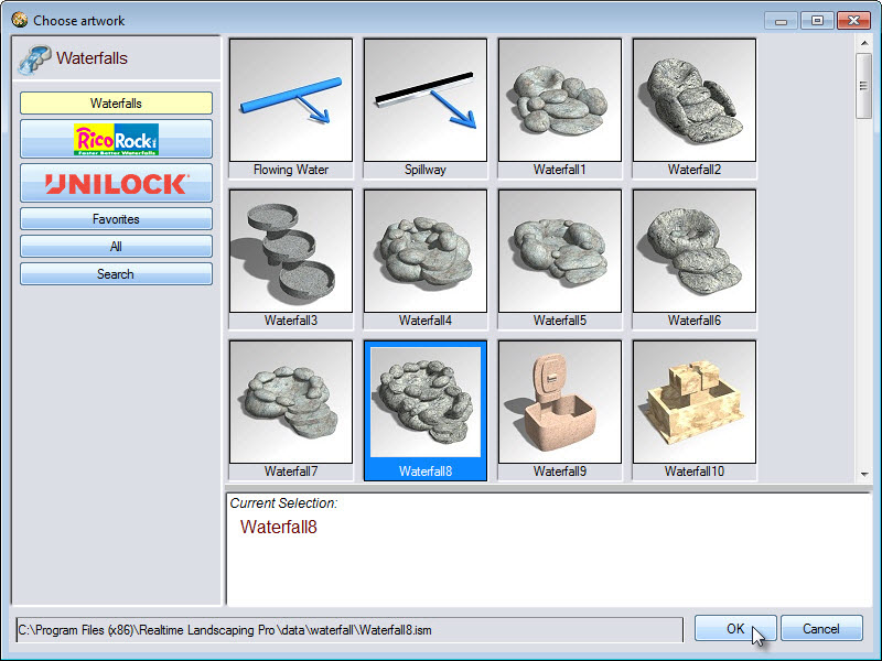 You can choose from a selection of waterfall models, including some from Rico Rock and Unilock