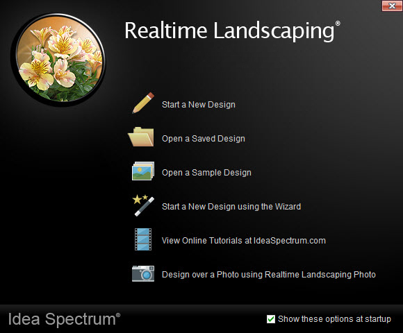 Welcome menu of Realtime Landscaping Pro